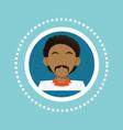 character black man mustache social media blue vector image