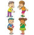 Children get sick cartoon character vector image vector image