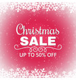 christmas sale poster with snowflakes white vector image