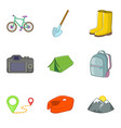 climbing icons set cartoon style vector image