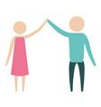 Color silhouette pictogram couple clashing hands