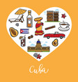 Cuba travel landmark symbols heart poster