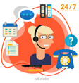 customer call center concept banner square trendy vector image vector image