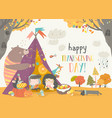 cute kids celebrating thanksgiving day vector image vector image