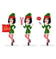 elf woman set of three poses vector image vector image