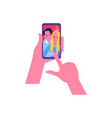 flat happy couple selfie in phone screen vector image