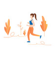 girl run in forest concept girl jogging in the vector image