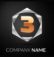 gold number three logo symbol in silver hexagonal vector image vector image