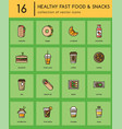 healthy fast food colorful icons vector image