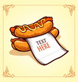 hot dog with paper vector image