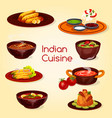 indian cuisine food thali dish and desserts vector image vector image