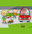 kid boys children characters with toys vector image