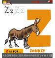 letter z from alphabet with cartoon zonkey animal