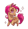 little cute glamour horse with pink hair vector image vector image