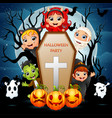 little zombie and ghost are the halloween party vector image