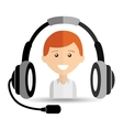 man headphones for support vector image vector image