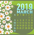 march 2019 calendar template with abstract vector image