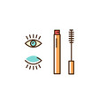mascara icon decorative eye makeup thin line art vector image vector image