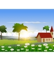 nature background with house and sunlight effect vector image vector image