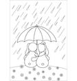 rabbits under umbrella vector image vector image