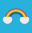 rainbow and clouds-hearts vector image