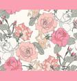 roses seamless pattern vintage pink orange flo vector image vector image