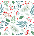 seamless pattern with branches leaves vector image vector image