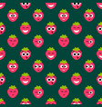 seamless pattern with red strawberry cute faces vector image