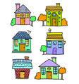 set of house colorful hand draw vector image vector image