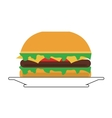 single hamburger on plate icon vector image vector image