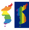 spectrum pixel dotted north and south korea map vector image