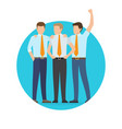 startup project poster with three office workers vector image vector image