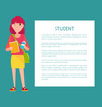 student girl in cartoon style smiling woman book vector image vector image