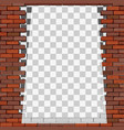 transparent frame on brick wall vector image