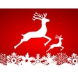 Two reindeer jump to each other on a red vector image vector image