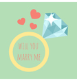 wedding ring with diamond and the words - Will you vector image