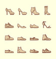 women shoes line icons vector image