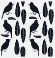 simple seamless pattern of black and singing birds vector image