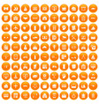 100 private property icons set orange vector image vector image