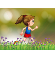 A girl jogging near the garden vector | Price: 1 Credit (USD $1)