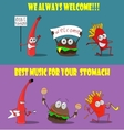 A group of friendly Fast Food meals vector image vector image
