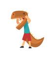 boy wearing dinosaur costume cute kid dressed vector image vector image