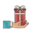 business hand gift box vector image vector image