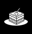 cake piece dark mode glyph icon vector image vector image
