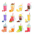 cartoon smoothie various summer drinks smoothie vector image vector image