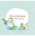 christmas card funny snowman delivering gifts vector image vector image