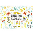 christmas floral elements collection hand drawn vector image vector image