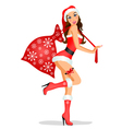 Christmas girl with gifts vector image vector image