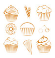 collection of sweets cupcakes outline vector image vector image