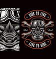 colorful biker patch with a rhinoceros biker vector image vector image